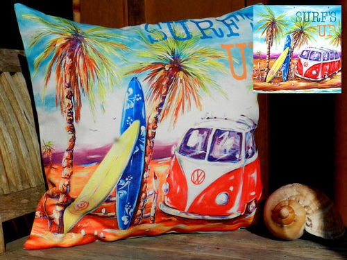 Surfs Up Beach VW Kombi Cushion Cover 40 x 40cm w- verse (Surfs Up)