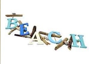 Beach Sign BEACH Letters hanging Driftwood String Rustic Coastal Style
