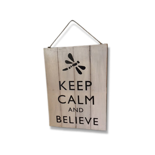 Keep Calm Vintage Beach Style Rustic Sign Featuring Dragonfly & Hanging String