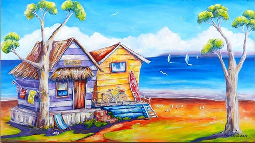 Beach side Summer Shacks Stretch Canvas 100 x 50cm