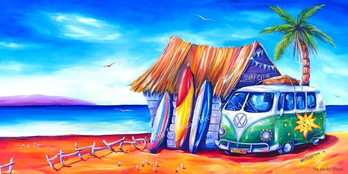 Surf Klub Kombi Beach Day Stretch Canvas Print 100cm - by Deb Broughton Aussie Designer