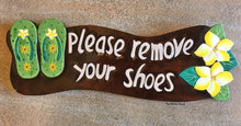Load image into Gallery viewer, Please Remove your Shoes Wall Sign in Tropical Style 44cm