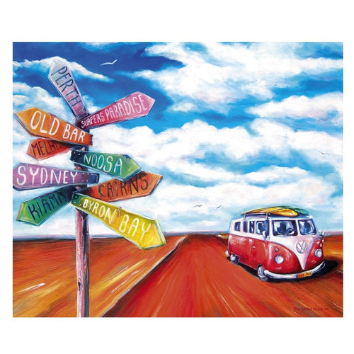 Australian Road Trip Stretch Canvas Print 76 x 50cm -  Summer Life VW Kombi Collection