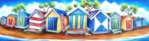 Mornington Peninsula Beach House Bathing Boxes Panoramic View Stretch Canvas Print 90cm - by Deb Broughton Australian Artist