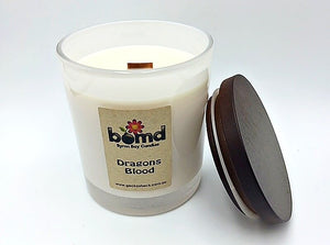 Dragons Blood Zesty Spice Scented 100% Soy Candle with Crackling Wood Wick