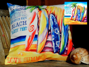 Hot Days Surfboard Line Up Beach Scene Cushion Cover 40 x 40cm