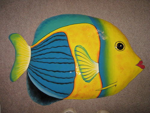 X Large Tropical  Fish 71cm Recycled Metal Drum Art