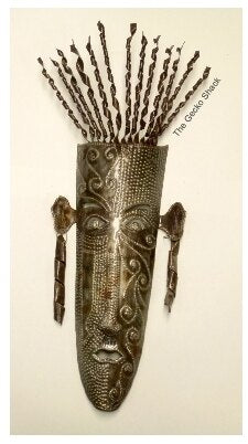 Mask 2  Recycled Haitian Metal Wall Art  63cm