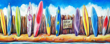 Load image into Gallery viewer, Byron Bay Surf Hire Surfboard Stretch Canvas Print 120cm - Made to order - by Deb Broughton Australian Artist