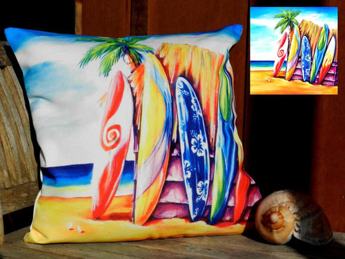 Surfboard Line Up Beach Scene Cushion Cover 40 x 40cm