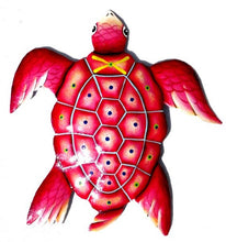 Load image into Gallery viewer, Extra Large Red Beach Turtle Recycled Metal Wall Sculpture 60cm99