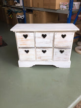 Load image into Gallery viewer, Rustic White Wash Set of Drawers with Love Heart Finger Pull in Chic Beach White Wash Design