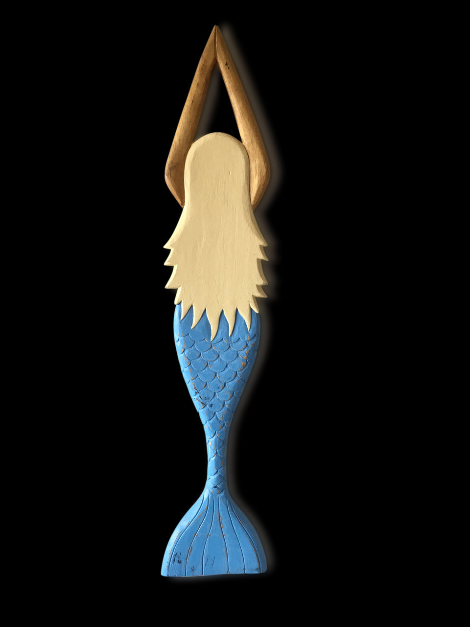 Blonde Mermaid w- Blue Tail Wooden hand carved 100cm Beach House Wall Decor