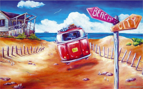 Take off from the City to the Beach VW Kombi Stretch Canvas 100cm - by Deb Broughton Aussie Artist