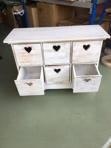 Rustic White Wash Set of Drawers with Love Heart Finger Pull in Chic Beach White Wash Design