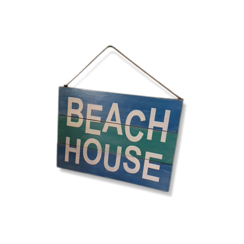Beach House Rustic Coastal Design Wall Sign with Hanging String