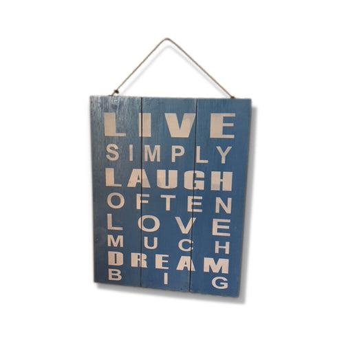 Live Love Laugh Positive Words Wall Sign with Rustic Finish