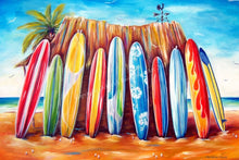 Load image into Gallery viewer, Off Shore Surfboard Line Up Beach Life Stretch Canvas Print 76 x 50cm - by Deb Broughton Australian Artist