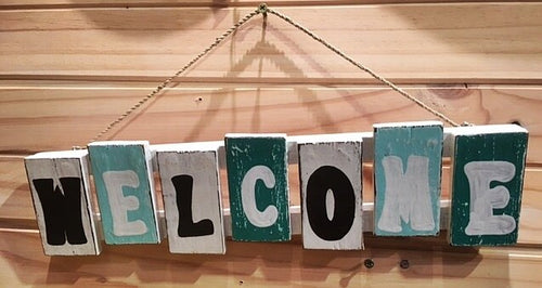 Rustic Beach House Welcome Sign