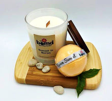 Load image into Gallery viewer, Byron Sunset Bubble Bath Bomb and Tropical Soy Candle with Wood Wick Relaxation Set