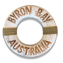 Load image into Gallery viewer, Byron Bay Beach Buoy Life Ring Design Sign in Rustic Timber Finish with White Wash Lettering 40cm
