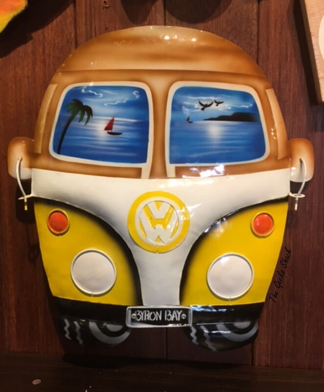 Happy Hippie Yellow VW Kombi Wall Plaque w- Byron Bay Number Plate