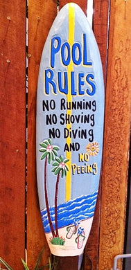 Pool Rules Sign 90cm Surfboard Shaped Wall Sign 90cm
