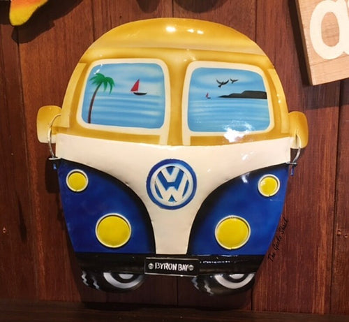 Blue VW Kombi Metal Wall Plaque w- Byron Bay Number Plates