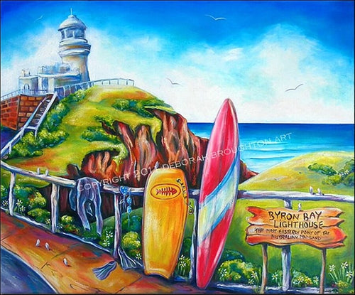 Byron Bay Light House Most Easterly Point in Australia 76 x 60cm Stretch Canvas by Deb Broughton