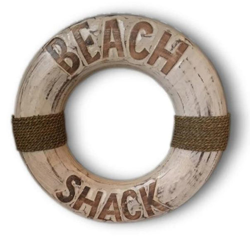 Beach Shack Nautical Buoy Sign in Rustic White Wash Finish 40cm
