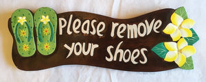 Please Remove your Shoes Wall Sign in Tropical Style 44cm