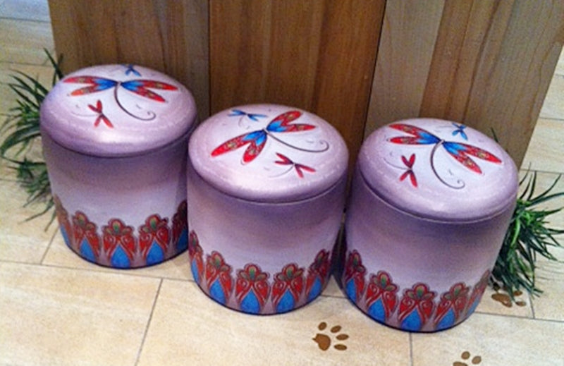 Dancing Dragonfly Ottoman with Storage by Lisa Pollock