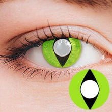 Load image into Gallery viewer, Cat Eye Light Green Yearly Cosplay Contact Lenses