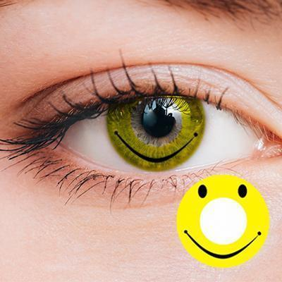 Smile Face Yellow Yearly Cosplay Contact Lenses