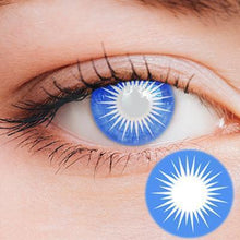 Load image into Gallery viewer, Solar Blue Yearly Cosplay Contact Lenses