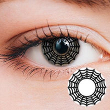 Load image into Gallery viewer, Spider Web Black Yearly Cosplay Contact Lenses
