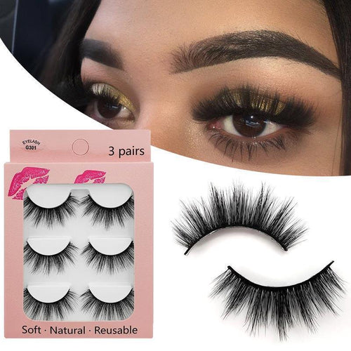 3D Natural Long False Eyelashes 3 Pairs Set