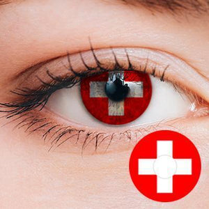 Red White Cross Yearly Cosplay Contact Lenses