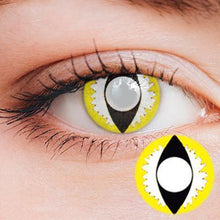 Load image into Gallery viewer, Dragon Eye Yellow-White Yearly Cosplay Contact Lenses