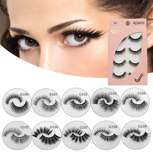 3D Natural Long False Eyelashes 4 Pairs Set