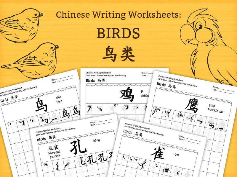 Birds - Chinese Characters Writing Worksheets PDF