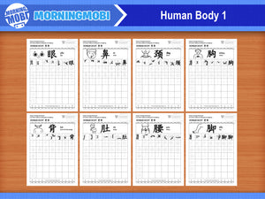 Human Body in Chinese Characters Writing Worksheets PDF