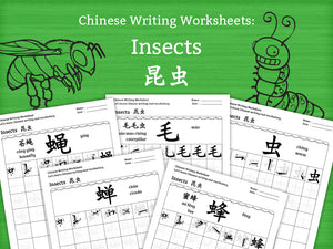 Insects in Chinese Characters Writing Worksheets PDF