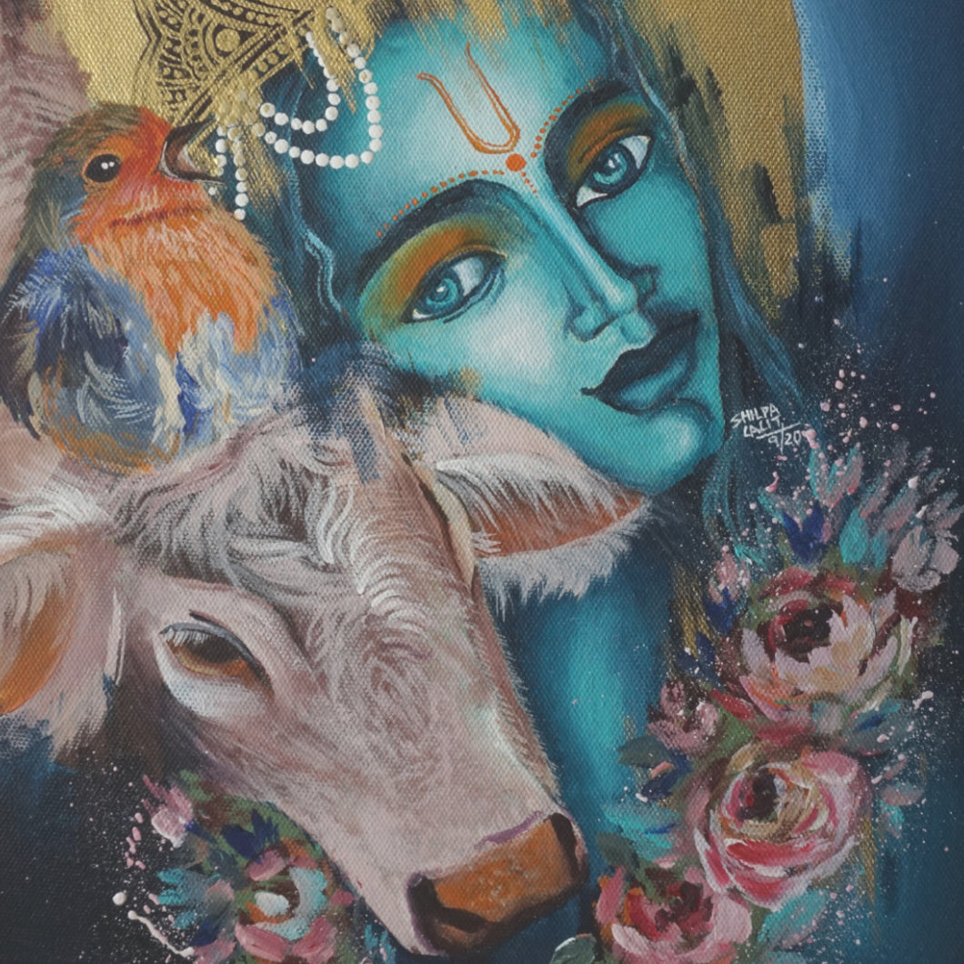 HOW TO PAINT LORD KRISHNA WITH THE COW AND THE BIRD