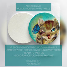"Load image into Gallery viewer, 9"" WOODEN ROUND CANVAS PANELS 2 PIECES"