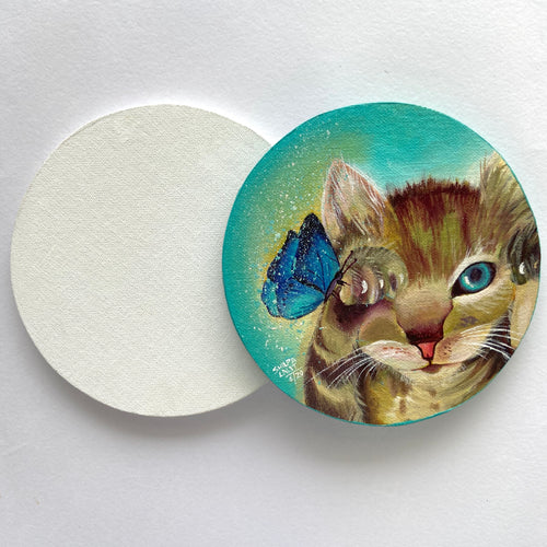 "9"" WOODEN ROUND CANVAS PANELS 2 PIECES"