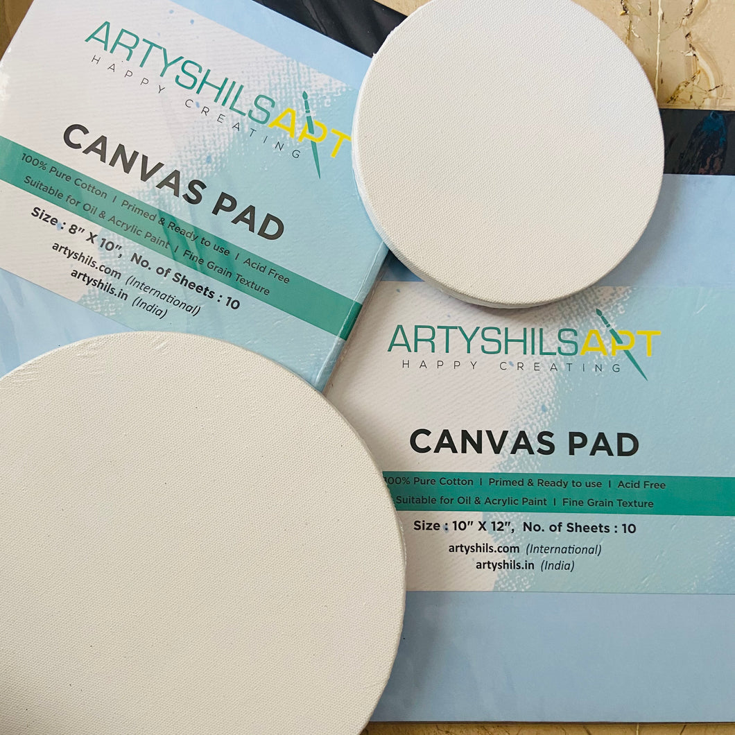 "COMBO 17 :- 2-6"" round , 2-9"" round , 1- 8/10 and 10/12 canvas pads each"