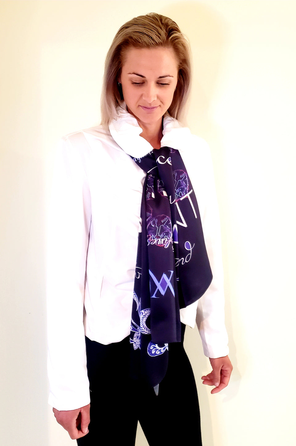 100% SILK SCARF- MIDNIGHT- HIGH FASHION 150