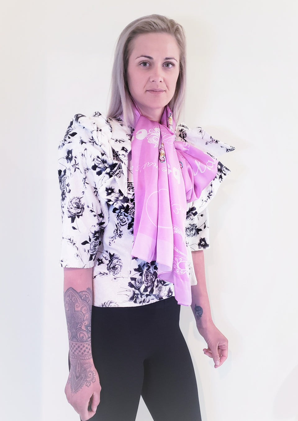 PURE SILK SATIN SCARF- BLOSSOM - EXTRA LONG OBLONG 150