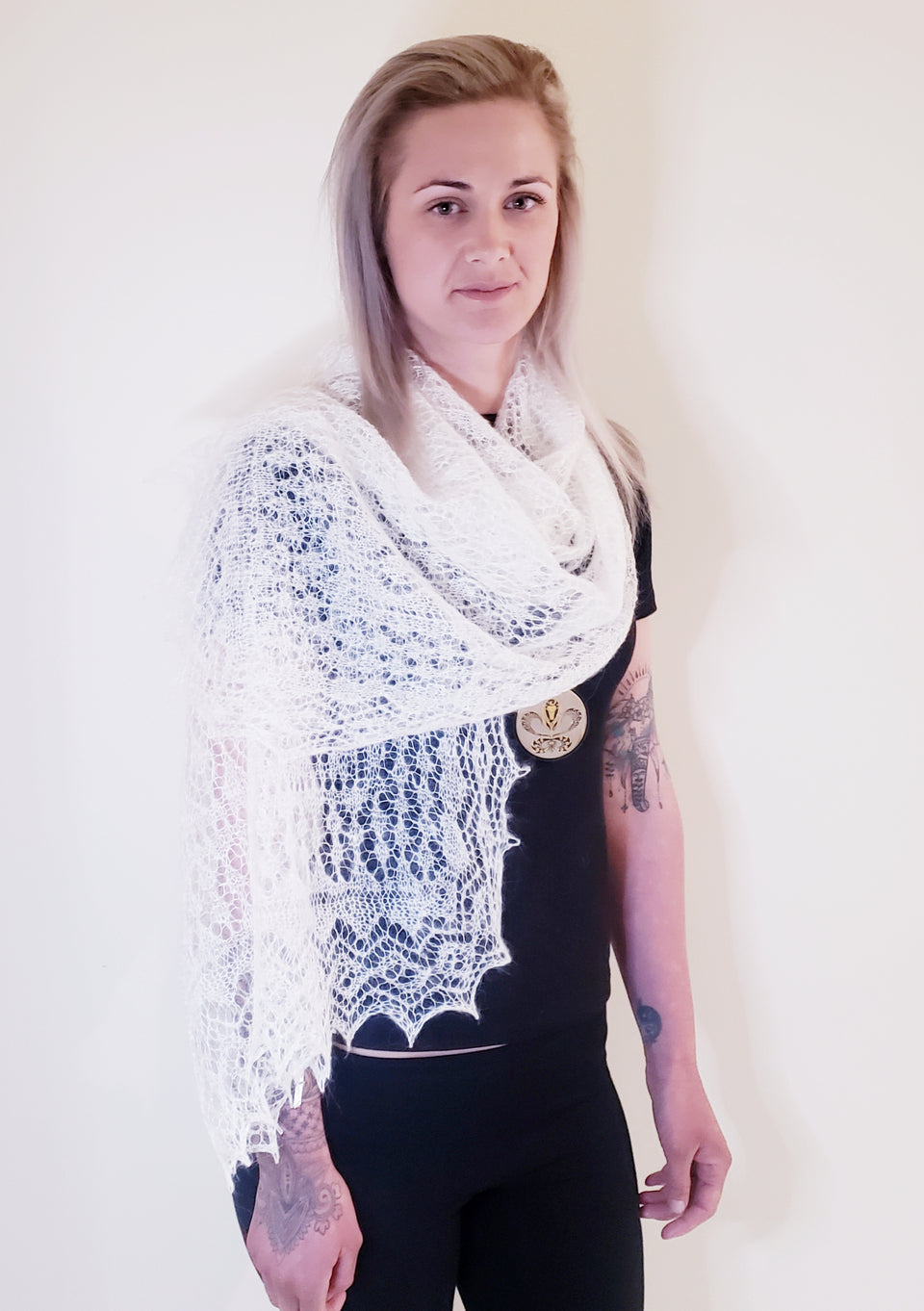 LACE SHAWL (valued higher than cashmere yarn & warmer than wool) combined with a trace of genuine silk thread.